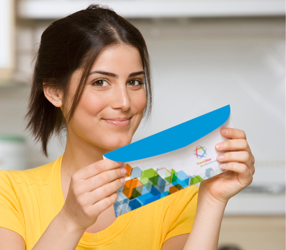 Girl holding envelope